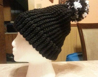 Made to order knitted hat with brim and pompom