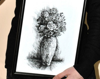 Realistic drawing of a bouquet in a vase