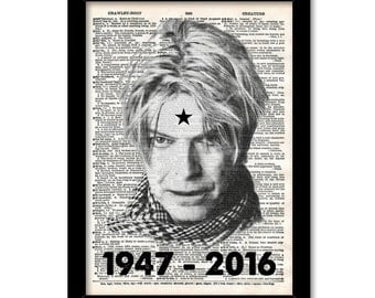 David Bowie Print Music Poster Black White Blackstar Illustration Engraving Upcycled Old Dictionary page