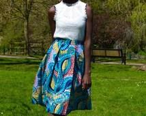 Long pleats midi skirt   ankara midi skirt   african print skirt