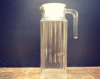 Glass and Cap spout - vintage Orange large Carafe pitcher