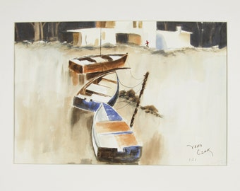 ORIGINAL painting, watercolor, rowboats, water, nature, gift, boats, gift art, 18x24/mounted 22x28