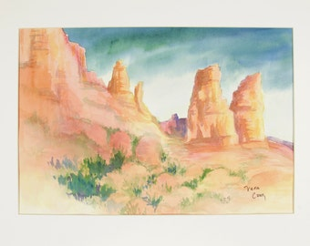 ORIGINAL painting, watercolor, desert,  southwest, Utah, Monument Valley, sun-drenched, rocks, mountains, gift art, 18x24/mounted 22x28