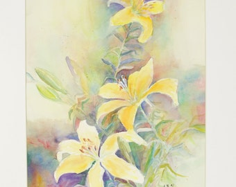 ORIGINAL painting, watercolor, signed, yellow day lilies, floral, flowers, botanical, gift art, 18x24/mounted 22x28