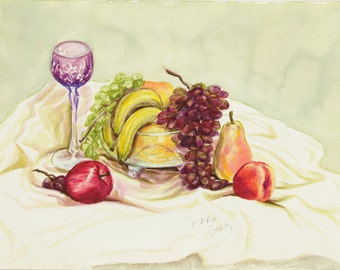 ORIGINAL painting, watercolor, signed, still life, fruit, traditional, gift art, 18x24/mounted 22x28