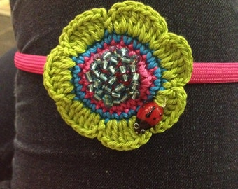 Crochet flower hair band