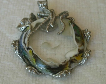 """Sculpted Solder & Glass Pendant, """"Agrapina"""", fused glass."""