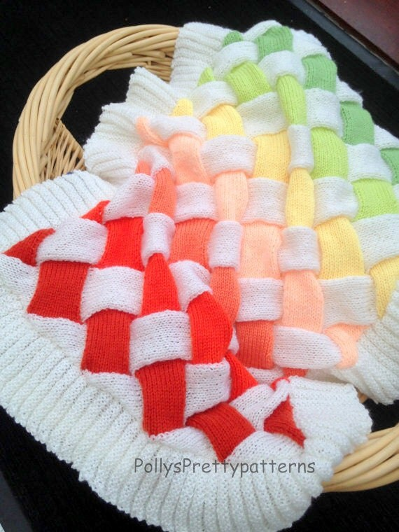 Sweater Patterns Knitting Free : PDF Knitting Pattern for Baby Entrelac Knit Pram/Cot Blanket