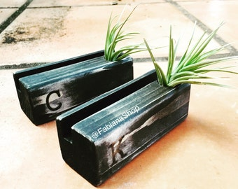 Business Card Holder,Set of Two, Desk Decor, Office Decor, Wood Desk  With Air Plant, Upcycled, 1 Character Personalized, Desk Organizer.