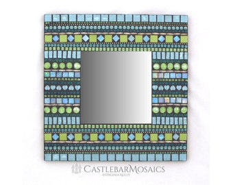 "Square Mosaic Mirror 16"" Blue Green Aqua Teal Mosaic Mirror, Handcrafted Mirror"