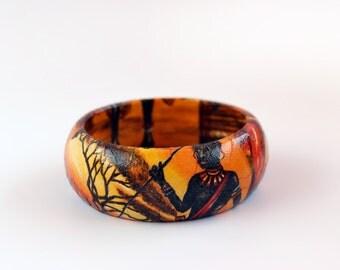 Africa design: Wooden Decoupage Bracelet