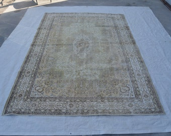 6.9x10 Ft  Neutral Vintage Oushak Rug. Muted colors; Beige. Decorative old handmade carpet made of wool  stok no: 664