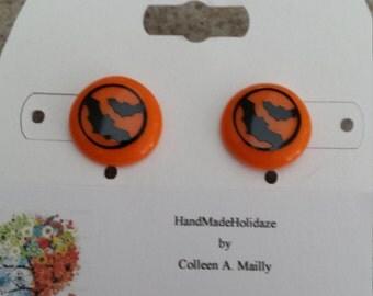 Orange Button Earrings with Bats