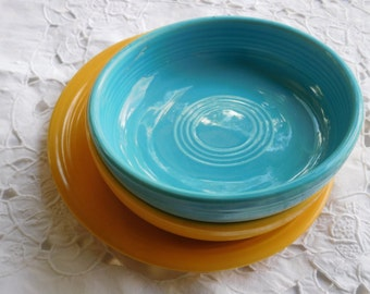Turquoise and Yellow Fiestaware Dessert Bowls and Salad Plate
