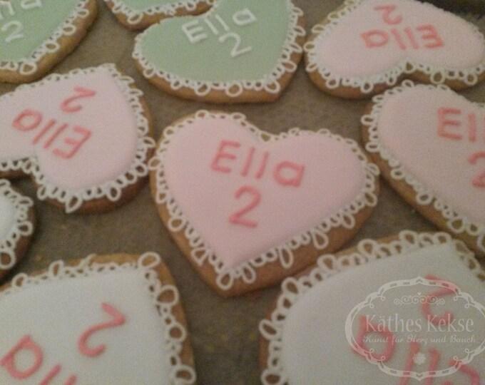 Liebe Mitgebsel-Kekse, personalisierbare Kekse, Farben und Aufschrift nach Wunsch, Preis für 10 Kekse