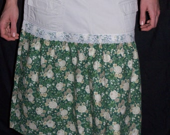 Cute Maternity Khaki and Floral Skirt  Size 10-12