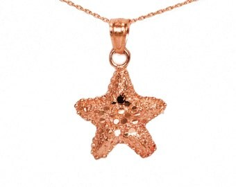14k Rose Gold Starfish Necklace