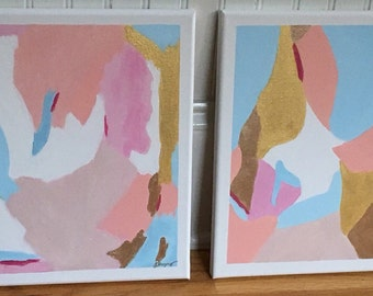 Set of two 12 x 12 acrylic abstract paintings
