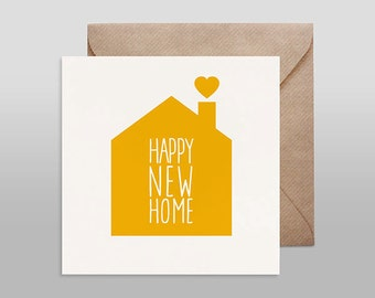 Screenprinted card HAPPY NEW HOME yellow with kraft envelope