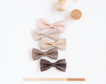 Baby Leather Hair Bow Crocodile Clip/Nylon Head band Soft Pastels, Pink Cream Taupe Grey Newborn Bow Adult Bow, Little Girl Bow, Leather Bow