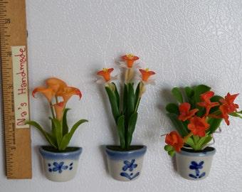 Orange Flowers Set of 3, Flower Refrigerator Magnet Handmade 100%