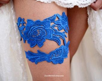 Royal Blue Garter, Wedding Garter, Blue Wedding Garter, Wedding Garter Set, Something Blue, Wedding Garter Blue, Blue Garters, Lace Garters