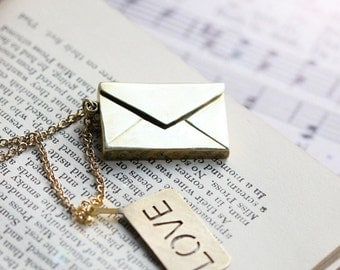 Envelop with Love Necklace / Linen Jewelry / Envelop Charm / Everyday Necklace / Paper Envelop Charms