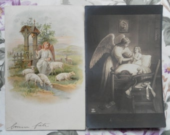 Four charming vintage French postcards depicting angels