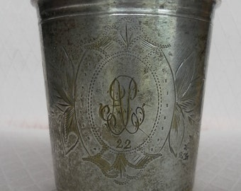 Monogrammed AP 2.2 silver plated cup. Hallmarked DB 5.