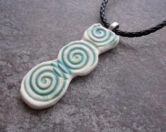 Spiral pendant, porcelain pendant, ceramic pendant, blue green pendant, blue pendant, green pendant, blue glaze pendant, green glaze pendant