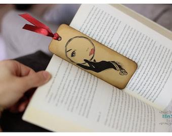 Bookmark / inking by hand / Marcapáginas Mirror, hand inking