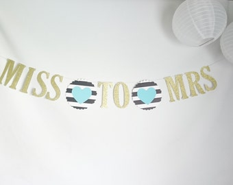 MISS TO MRS banner, Kate Spade inspired!,bridal shower,kate bridal shower, bachelorette party,hearts,