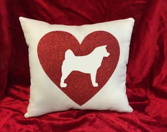 Akita throw pillow.  Red and white glitter on white pillow.  Great gift for the Akita dog lover!