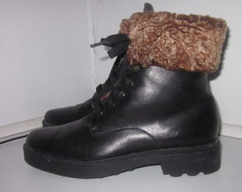 Stéphane Kelian black leather boot size 6 1/2 US