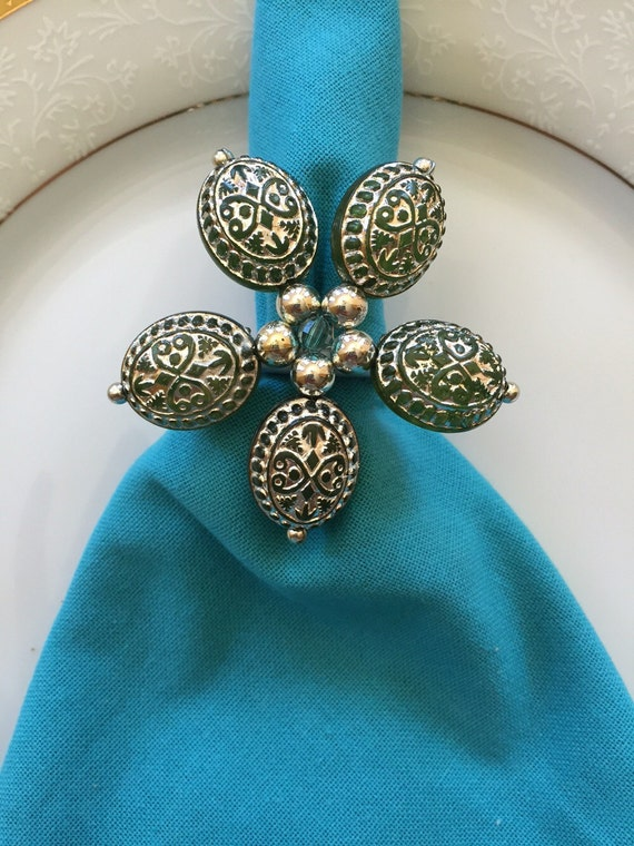 unique beaded flower napkin rings vintage looking napkin