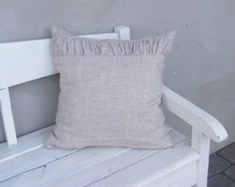 Natural Linen Pillow Cover With Ruching / Throw Pillow Cover / Pillow Sham
