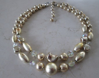 Vintage 2 strand gold tone necklace with Swarovski crystals