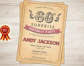 Surprise 60th Birthday Invitation. Vintage, Retro 21st, 50th, 40th, 80th birthday Invitation. Printable  Adult birthday invite