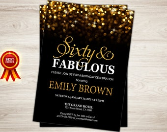 Surprise 60th Birthday Invitation for women. Sixty and Fabulous Birthday Invitation Gold Glitter Bokeh Printable invite