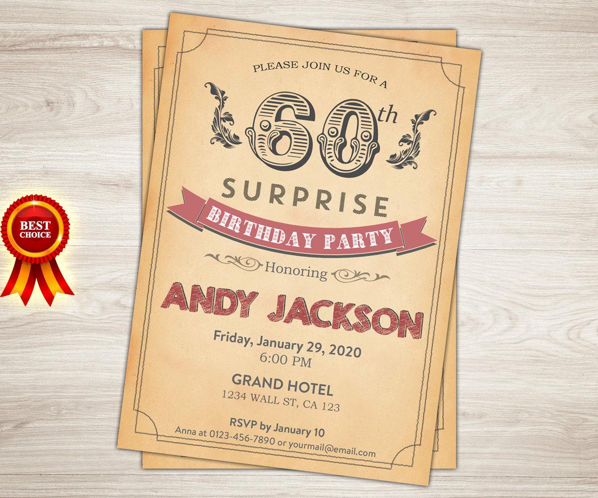 Surprise 60th Birthday Invitation. Vintage Retro 21st 50th