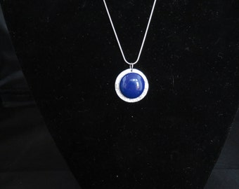 Lovely Blue Glass Cabochon Mounted on Silver Pendant