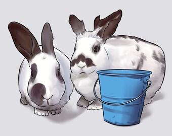 Custom Rabbit Portrait
