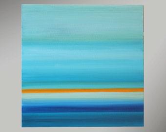 Abstract acrylic painting 1 piece 50x50cm original paintings unique contemporary art blue lines Strip horizon Sea Sky