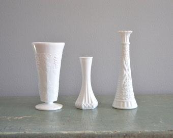 Antique Milk Glass Bud Vases Vintage Rustic