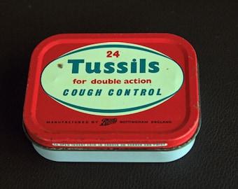 Vintage TUSSILS Cough Control Lozenges Tin