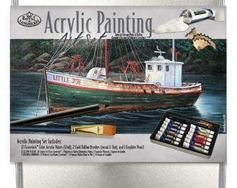 Acrylic Painting Art Set with Paint Brushes, 12 Tubes Paint, Graphite Pencil and Tin!