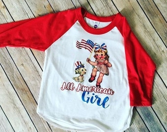 SALE All American Girl size 4, Fourth of July Shirt, Girls Fourth of July Shirt, Red White and Blue Shirt, Patriotic Shirt