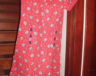 Vintage Red Print Cotton/Polyester Dress w/belt never worn.  Free shipping