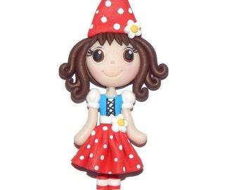 Gnome Girl Costume Handmade Polymer Clay Pendant/Magnet/Bead/Figure
