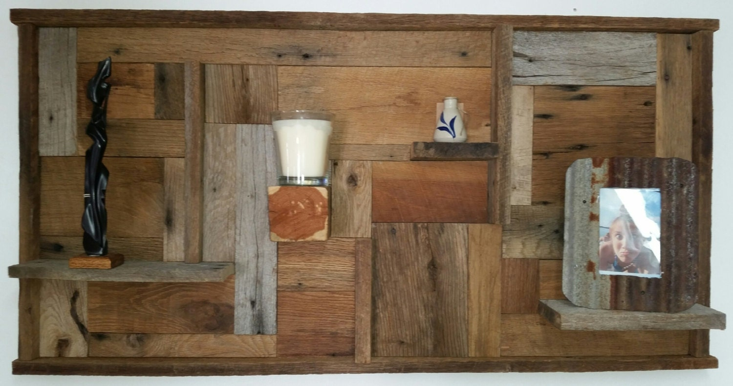 Rustic abstract barn wood wall art piece display shelf for Barnwood pieces